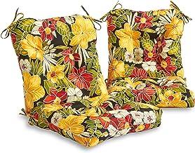 South Pine Porch AM6815S2-ALOHA-BLACK Aloha Black Floral Outdoor Seat/Back Chair Cushion, Set of 2