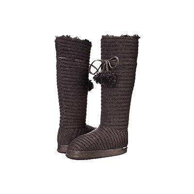 MUK LUKS Slipper Boot w/ Poms (Grey) Women