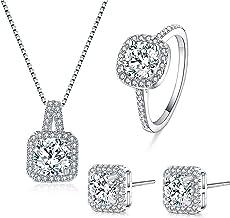 bague bijoux Parure argent pendentif cristal collier chaîne boucle d/'oreille
