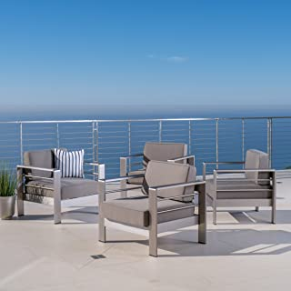 Christopher Knight Home 300618 Cape Coral Outdoor Aluminum Club Chairs, Khaki