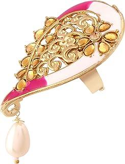 آي جويلز خاتم الاصبع التقليدي مطلي بالذهب ومرصع بالمينا واللؤلؤ للنساء (FL58Pi)
