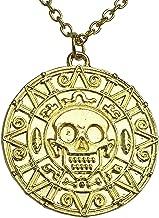 Graceful Goods Caribbean Pirate's Treasure Aztec Skull Coin Medallion Necklace