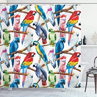 Ambesonne Parrots Decor Collection, Colorful Parrots on Tree Branches Exotic Jungle Watercolor Painting Effect Illustration, Polyester Fabric Bathroom Shower Curtain Set with Hooks, Cobalt Red