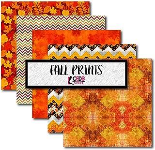 Fall Patterned Heat Transfer Vinyl, Autumn Vinyl, Thanksgiving Themed Bundle Pack, CSDS Vinyl Bundle Pack, Holiday Themed Craft Vinyl Bundle (Heat Transfer Vinyl)
