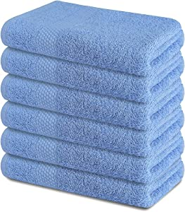 SOFTILE COLLECTION 22x44 Inch 100% Cotton Bath Towels Set Pack of 6 Ultra Soft Blue Bath Towel Highly Absorbent Ideal for Home Pool Gym Spa & Hotel