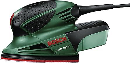 Bosch PSM 100 A - Multilijadora, 3 hojas de lija K 80/ K 120/ K 160, maletín (100 W, nº de carreras en vacío: 26.000 opm, ...