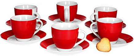 Preisvergleich für Van Well 6er Set Kaffeetasse mit Untertasse Serie Vario Porzellan - Farbe wählbar, Farbe:rot