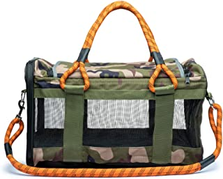 ROVERLUND Car Seat & Airline Compliant Pet Carrier. 25lbs Limit. Includes Bonus Leash. Stylish. Durable. (Camouflage, Large)
