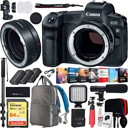$2098 Get Canon EOS R Full-Frame Mirrorless Digital Camera (Body Only) with Canon Mount Adapter EF-EOS R 2971C002 and Deco Gear Backpack 2X Extra Batteries Cleaning Kit Case Microphone Bundle