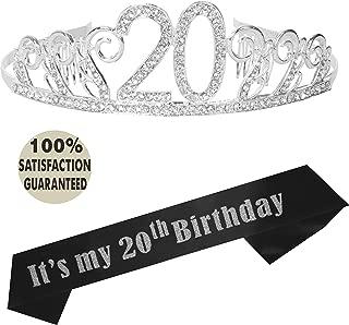 20th Birthday Party Decoration Kit, 20th Birthday Tiara and Sash, Happy 20th Birthday Party Supplies, 20th Glitter Satin Sash and Crystal Tiara Birthday Crown (Silver) (Silver)
