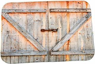 A.Monamour Retro Madera Tablones Puerta Rústico País Décor Antideslizante Microfibra Franela Alfombra De Baño Estera Alfombrillas para Puerta De Entrada Dormitorio 40X60Cm / 16