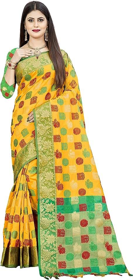 Indian Dwiza Enterprise Women's Banarasi Cotton Silk Saree With Unstitched Blouse Piece Saree