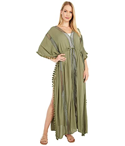 Michael Stars Farrah Tassel and Lace Cover-Up (Olive) Women