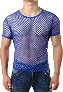 Men's Mesh Fishnet Fitted Short Sleeve Muscle Top