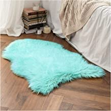 Faux Fur Sheepskin Rug, Soft Chair Cover Seat Pad Plain Skin Fluffy Area Rugs, Washable Bedroom Home Decor,Blue,70x120cm