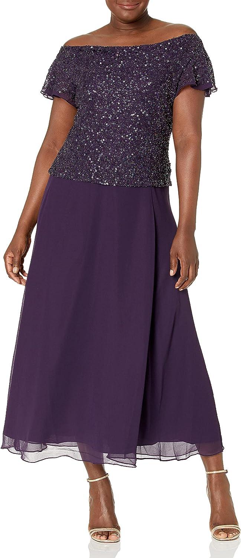 J Kara Women's Petite Flutter-Sleeve Embellished Popover Dress