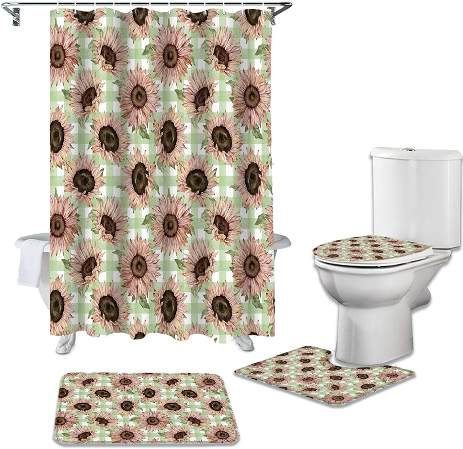 Sunflowers Max 68% OFF 4 Outlet SALE Pcs Shower Curtain Set L Non-Slip Rugs with Toilet