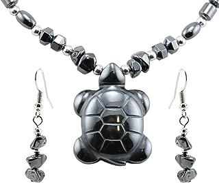 BlueRica Hematite Sea Turtle Pendant Necklace/Earring Set with Semi-Precious Stone