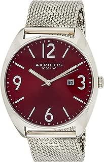 Akribos XXIV Men's Watch AK1026– Fashionable Stainless Steel Mesh Bracelet Sunburst Dial and Date Window