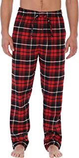 Mens Yarn-Dye Brushed Flannel Pajama Pants, Elastic Waist