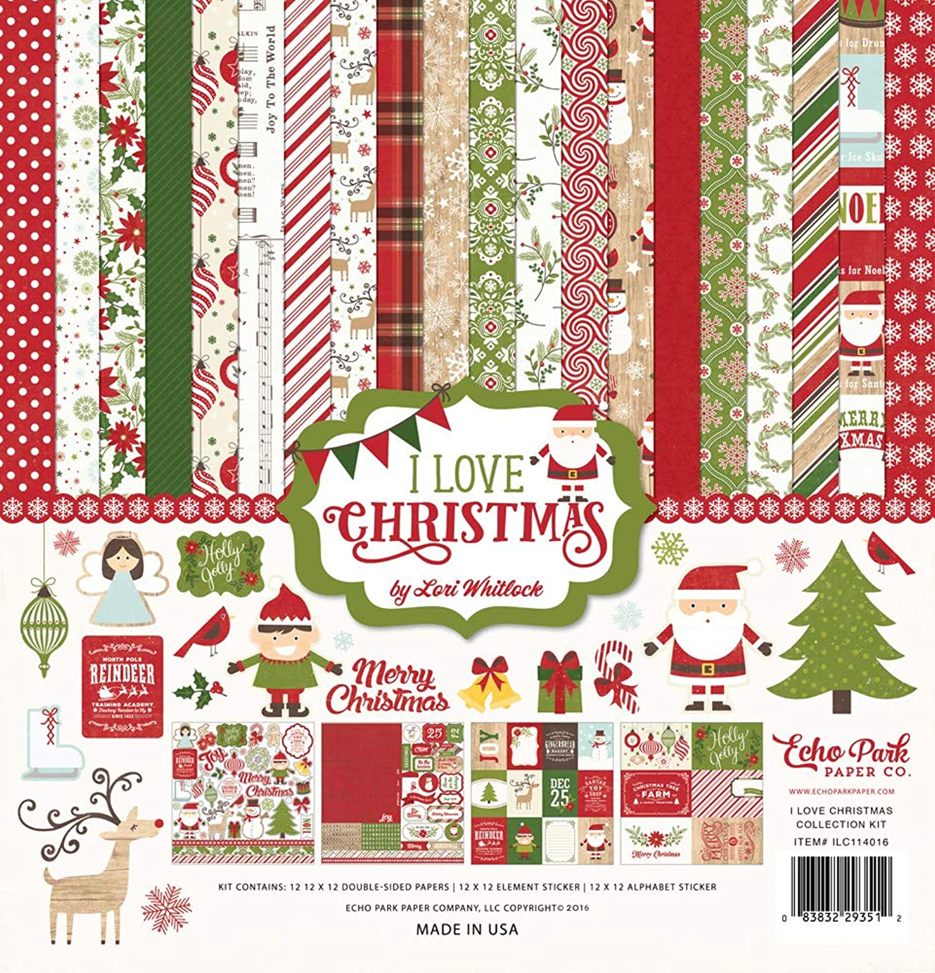 Echo Park - I Love Christmas Collection Scrapbooking Kit by Lori Whitlock - Item #: ILC114016TM - Copyright 2016