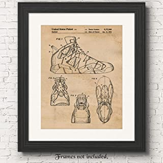 Original Nike Air Jordan 6 Shoes Patent Poster Prints, Set of 1 (11x14) Unframed Photo, Great Wall Art Decor Gifts Under 15 for Home, Office, Gym, Shop, Garage, Man Cave, Teacher, Student, Sports Fan