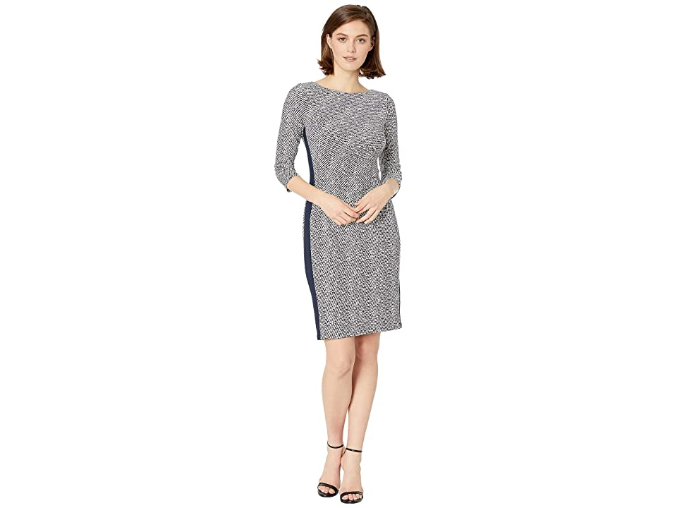 LAUREN Ralph Lauren B746 Lugano Geo Drewly 3/4 Sleeve Day Dress (Lighthouse Navy/Colonial Cream) Women