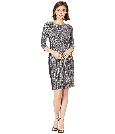 LAUREN Ralph Lauren B746 Lugano Geo Drewly 3/4 Sleeve Day Dress (Lighthouse Navy/Colonial Cream) Women