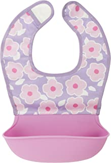 Kushies Silisoft Comfort Fabric Top, Silicone Pocket Waterproof Feeding Bib, Purple Flowers, 6m+
