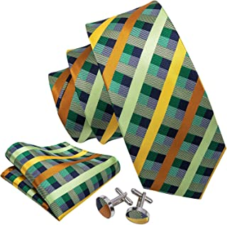 Barry.Wang Check Formal Ties for Men Set Silk Pocket Square Cufflink Designer
