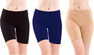 Pixie Biowashed 220 GSM Cotton Lycra Cycling Shorts for Girls/Women/Ladies Combo (Pack of 3) Black, Blue and Beige - Free Size