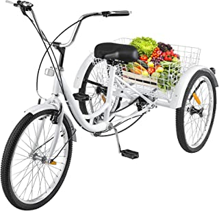 Happybuy Adult Tricycle Single 7 Speed Three Wheel Bike Cruise Bike 24 Inch Seat Adjustable Trike with Bell Brake System and Basket Cruiser Bicycles Size for Shopping