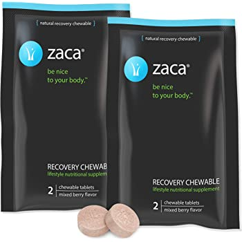 Zaca Recovery Chewable Supplement | Hydration + Liver Aid | Party, Travel, Exercise & Altitude | Sugar Free & Gluten Free | Mixed Berry, 2 Packs = 4 Tablets