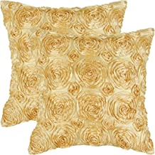 CaliTime Pack of 2 Cushion Covers Throw Pillow Cases Shells for Couch Sofa Home Solid Stereo Roses Floral 20 X 20 Inches Soft Gold