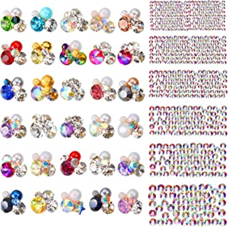 Bememo 2030 Pieces 3D Crystal AB Color Flat Back Rhinestones Nail Art DIY Crafts Gemstones with Nail Art Gem Stones (2030 Pieces, Style E)