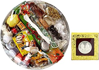 NOBILITY Complete All in one Puja Thali Set Pack with 31 Exclusive Pooja Samagri Items for Diwali & Others Puja with 10g German Silver Coin