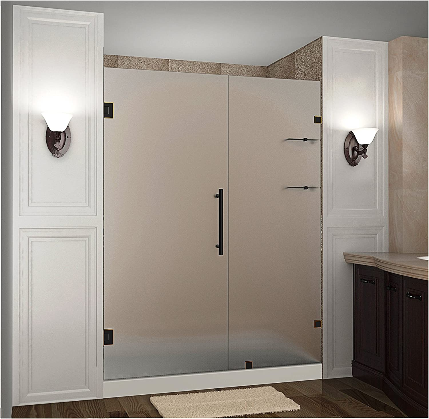 Aston Nautis Gs 46 X 72 Completely Frameless Hinged Shower Door In Frosted Glass With Shelves Polished Chrome