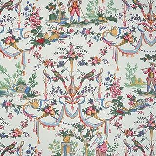 Textiles français Tissu de Coton imprimé - Toile de Jouy | La Vie à la Campagne - Multicolore (Fond: Blanc Crème) | Largeu...