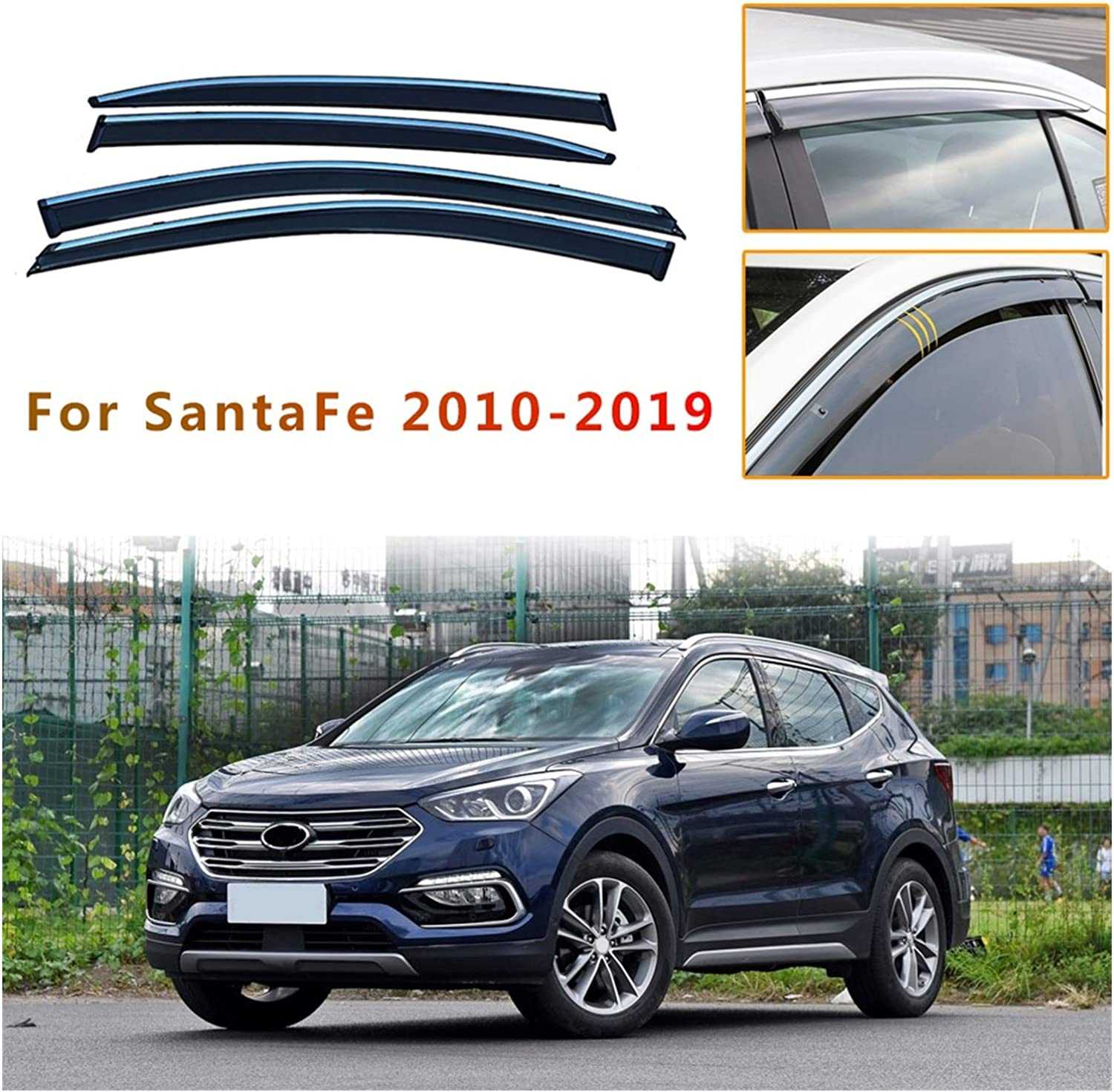 MYDH Window Visor Deflectors All stores are sold Hyundai Santaf for Car Outstanding
