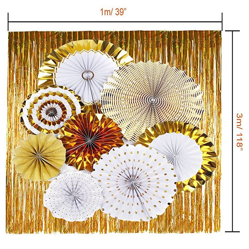 Gold Tissue Paper Fan Decoration & Tissue Tassel Garland for Wedding Party Baby Girl Room Nursery Decoration
