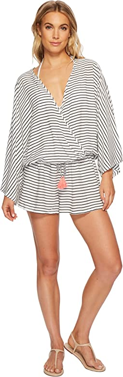 Vince Camuto Blossom Stripes Cover-Up Romper