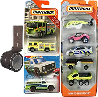 Matchbox to The Rescue MBX-5Pack Bundled with Ford Superduty Truck & Freightliner Red Fire Truck & City Tape 4 Items Police Suburu / Pierce Dash / Helicopter Vehicles