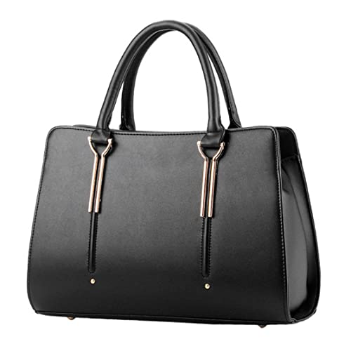 Womens Pure Color Pu Leather Boutique Tote Bags Top Handle Handbag