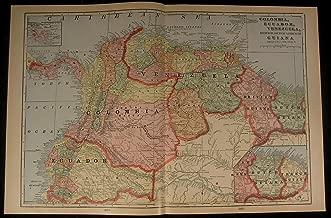Colombia Ecuador Peru Guiana South America 1905 antique detailed color map