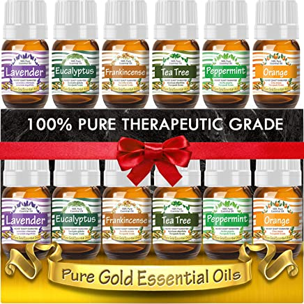 Essential Oils Gift Set of 6 (Lavender, Peppermint, Tea Tree, Orange, Frankincense, and Eucalyptus) 100% Pure & Natural for Diffuser, Aromatherapy, Topical - 6 Sets of 5ml Bottles