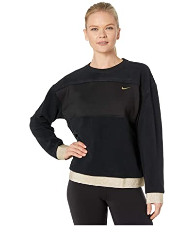 Nike Icon Clash Therma Fleece Crew (Black/Metallic Gold) Women