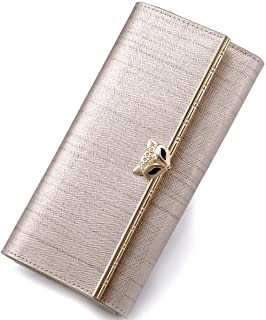 FOXER Women Leather Trifold Wallet Long Clutch Wallet with Zipper Pocket Valentine's Day Gift