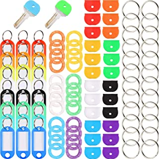 96 Pieces Key Cap Covers Kit Silicone Key Covers Silicone Key Tag Key Covers Metal Key Rings Identifiers for Keys Organiza...
