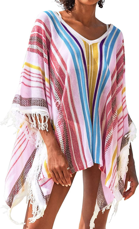CUPSHE Women's Cover Up Colorful Stripe Tassels V Neck Swimsuit