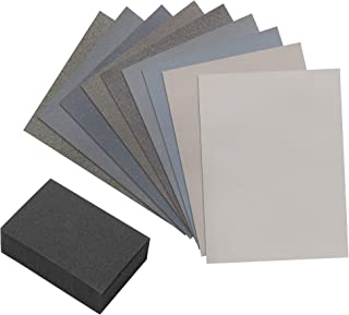 Micro Mesh 9 Sanding Sheet Introductory Woodworkers Kit with a 2 inch by 3 inch Foam Sanding Block